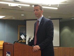 Anchorage School District Superintendent Ed Graff speaks with reporters. (Photo by Josh Edge, APRN - Anchorage)