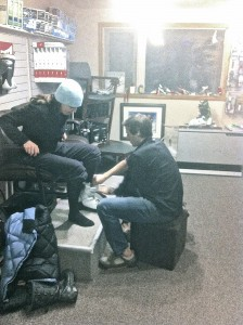 A customer gets a custom bootfitting job at Powder Hound Ski Shop in Girdwood, Alaska. Photo by Powder Hound.