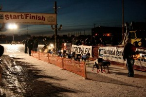A musher leaves the starting line of the 2011 K300 sled dog race. (Photo from the K300 Facebook page)