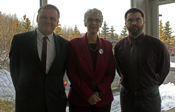 From left, Libertarian candidates Mark Fish (U.S. Senate), Carolyn Clift (Governor), and Andrew Lee (Lt. Governor). (Photo by Josh Edge, APRN - Anchorage)