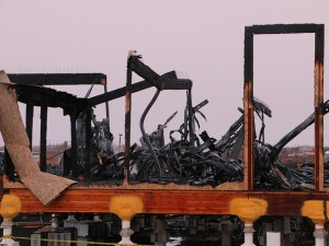 The aftermath of the fire. (Photo by Dean Swope / KYUK)