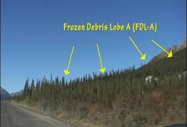 Frozen Debris Lobe A along the Dalton Highway (Credit University of Alaska Fairbanks Institute of Northern Engineering)