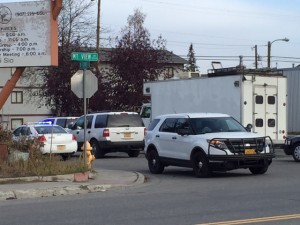 Police vehicles block off N. Flower Street in Mountain View.