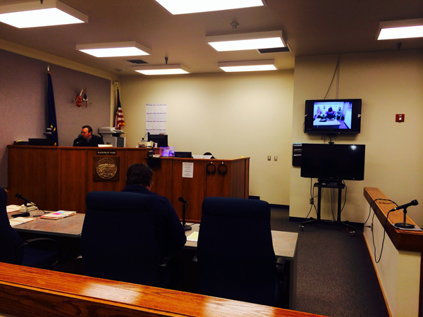 Judge Nathaniel Peters read murder charges to Everett Semone via video teleconference in a Bethel court Thursday, October 9th. (Photo by Daysha Eaton, KYUK - Bethel)