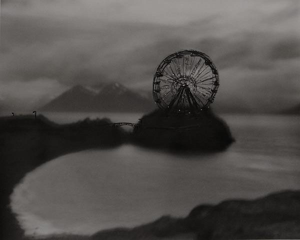 """Beluga Point Ferris Wheel"" by Cody Swanson.  Oil pastel and ink on gelatin silver print. Photo: courtesy of the Anchorage Museum."
