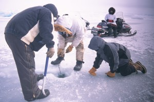 Whalers check the ice off Point Barrow. Photo by Charles Wohlforth. All rights reserved.