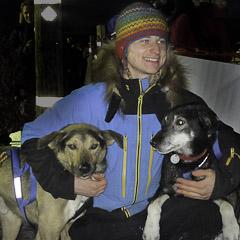 2014 K300 champion Rohn Buser congratulates his lead dogs after his 2nd Kuskokwim 300 win.