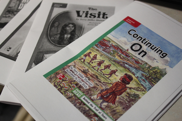 The Juneau School District made copies of the controversial texts available for public review. (Photo by Lisa Phu/KTOO)