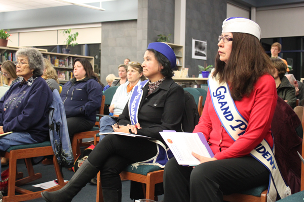 Beverly Russell and Freda Westman of the Alaska Native Sisterhood gave public testimony supporting Paul Berg's recommendations at a recent school board meeting. (Photo by Lisa Phu/KTOO)