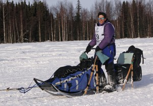 Karin Hendrickson leaving Willow during the 2013 Iditarod. (Photo by Josh Edge, APRN - Anchorage)