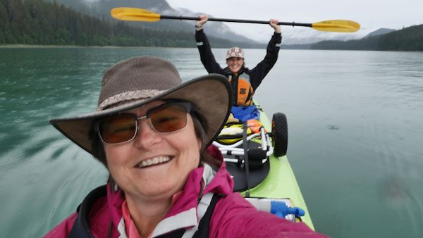 Kelli Burkinshaw (front) and Megan Ahleman paddling in Berner's Bay this past fall. (Photo courtesy Kelli Burkinshaw)