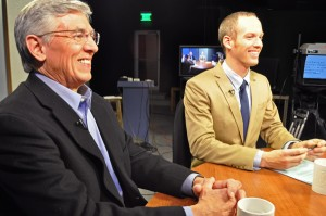 Candidate Byron Mallott and KYUK reporter Ben Matheson on the set of Alaska Public Media's Debate for the State program. (Photo by Patrick Yack, Alaska Public Media)