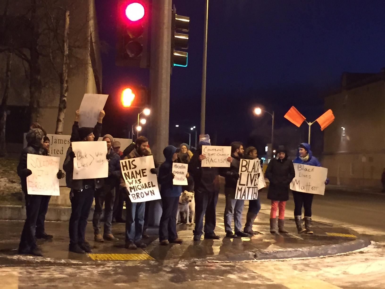Anchorage Michael Brown solidarity demonstrators