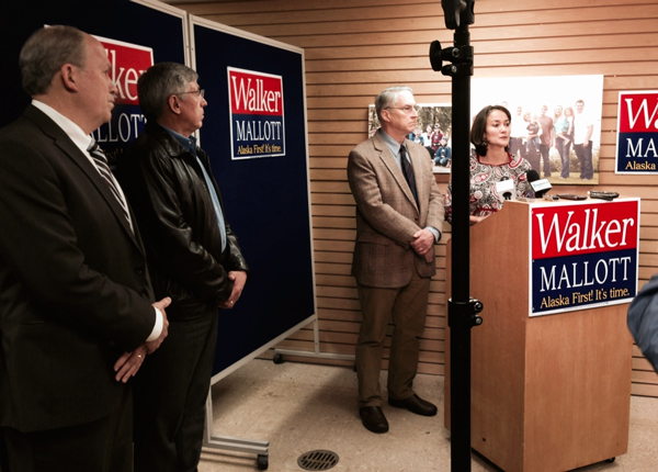Hoffman and Halford speak as Bill Walker and Byron Mallott look on. (Photo from Walker campaign)