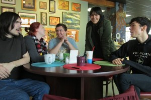 """Jacob Trumble, Holly Nore, Tyler Varner, """"Izm,"""" and Austin Kalkins meet up in a casual support group for LGBTQ people in Ketchikan."""
