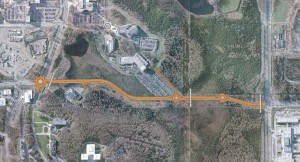 The proposed preferred route for the U-Med District Northern Access Road.