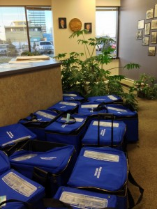 Voting equipment awaits storage at Division of Elections Anchorage office.