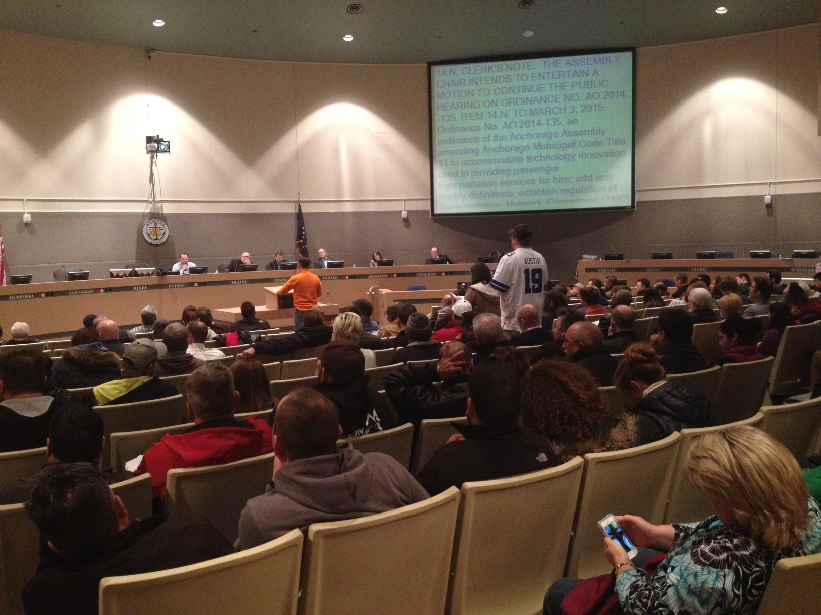 More than a hundred people attended Tuesday's Assembly meeting. Photo: KSKA.