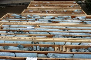 Drilled rock cores wait for analysis at the Kerr-Sulphurets-Mitchell project, one of the British Columbia mines planned for near the Southeast Alaska border.  (Ed Schoenfeld/CoastAlaska News)