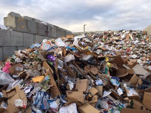 A pile of mixed recycling in Anchorage. HIllman/KSKA
