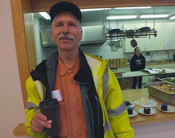 Mike Ricker is a long-term resident of the Glory Hole, Juneau's nonprofit homeless shelter, which was damaged by a flood last weekend. (Photo by Casey Kelly/KTOO)