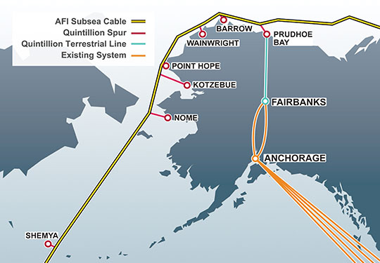 Both the subsea Arctic cable, and a terrestrial cable along the Dalton Highway, are seeing delays that could push the rollout of Quintillion's ultrafast broadband network in rural Alaska to 2016 or beyond. (Image: Quintillion Network)