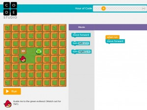 A screenshot of  the Angry Birds tutorial from an Hour of Code.