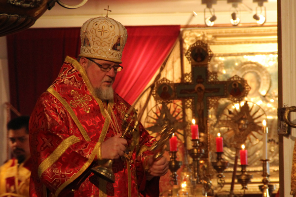 Bishop David of Alaska visited Sitka for St. Michael's Feast Day in November, 2014. (KCAW photo/Rachel Waldholz)