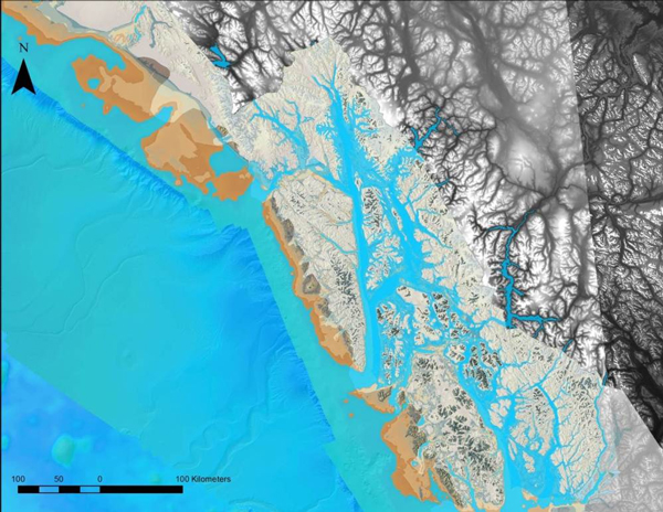 A computer-generated map of Southeast Alaska shows additional land (in brown) beyond today's shoreline. (Courtesy Jim Baichtal)