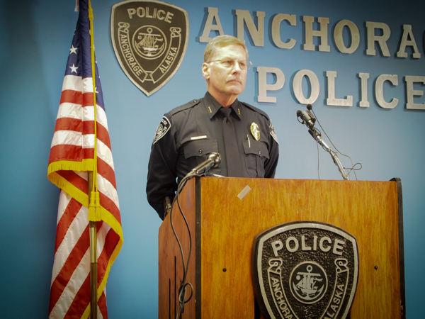 APD Chief Mark Mew spoke in front of a dozen reporters Thursday afternoon at a press conference. Photo: Zachariah Hughes, KSKA.