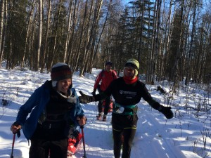 Runners David Johnston and Shawn McTaggart laugh it up a mile into the 2014 Iditarod Trail Invitational.  Photo courtesy of David Johnston.