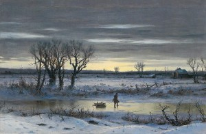 George Henry Broughton Winter Twilight Near Albany (1858)