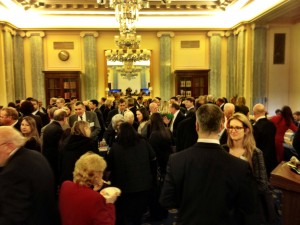 Alaskans mingled with Sullivan relatives at a reception in the Russell Senate Office Building.