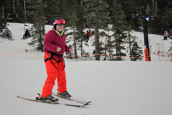 Jessica Gilbert, 30, has been skiing with ORCA for 15 years and continues to push herself to learn new skills. (Photo by Lisa Phu/KTOO)