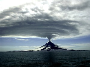 Augustine Volcano during its 2005-2006 eruption. (Photo by Cyrus Read, Alaska Volcano Observatory/USGS)