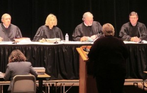 The Alaska Supreme Court listens to a state attorney during the Supreme Court live event in Ketchikan last fall. Alaska's high court soon will consider an appeal from the state in Ketchikan's lawsuit challenging Alaska's required local contribution for public schools.