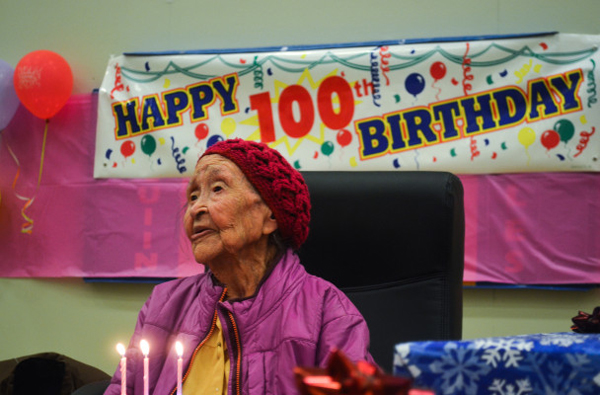 Elim's Eliza Katongan celebrates her 100th birthday.