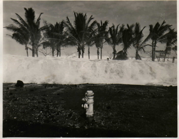 Jeanne Branch Johnston's uncle Rod Mason took this photo of a tsunami wave that hit Hilo, Hawaii, on April 1, 1946. (Rod Mason photo, courtesy Pacific Tsunami Museum)