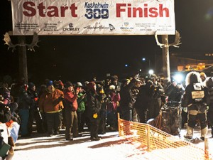 Pete Kaiser was met by a crowd of fans at the K300 finish line in Bethel at 5:31 a.m. Sunday morning. Photo by Chris Pike