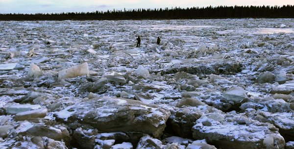 Ice jam below Kalskag.  (Photo Courtesy of BSAR)