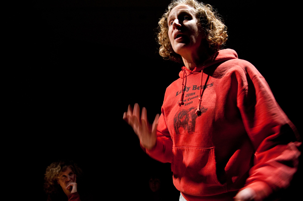"""MK MacNaughton as Merry in the play """"A Lifetime to Master,"""" about homelessness in Juneau. Playwright Merry Ellefson (background) interviewed nearly 60 people as research for the play. (Photo courtesy Flordelino Lagundino/Generator Theater Company)"""