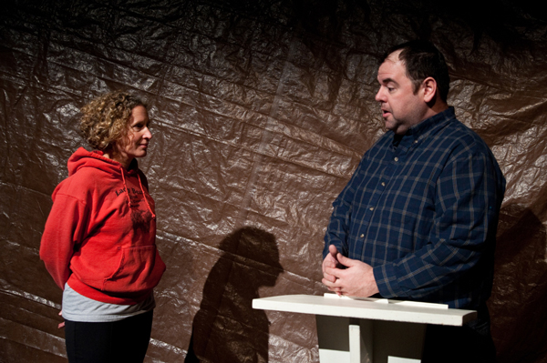 "MK MacNaughton and Jeff Hedges rehearse a scene from ""A Lifetime to Master,"" a play about homelessness in Juneau. (Photo courtesy Flordelino Lagundino/Generator Theater Company)"