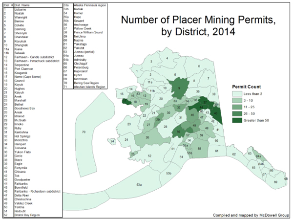 Placer mining operations in 2014. (Image: Alaska Miners Association via the McDowell Group)