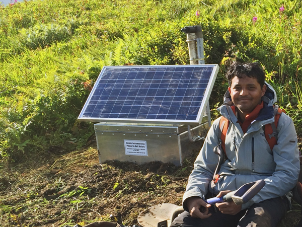 Researcher Abhijit Ghosh with one of his seismometers last summer. (Courtesy: University of California Riverside)