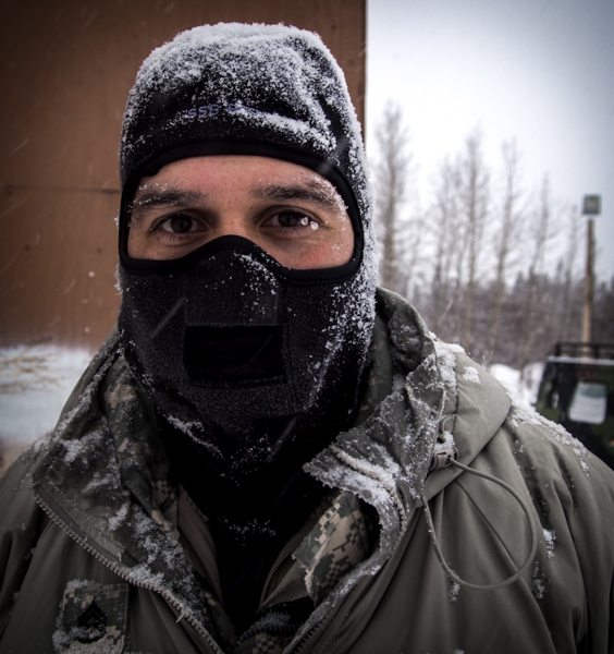Staff Sargent Manuel Bezo with USARAK at the Black Rapids Training Site, part of the Northern Warfare Training Center outside Fairbanks. (Photo: Zachariah