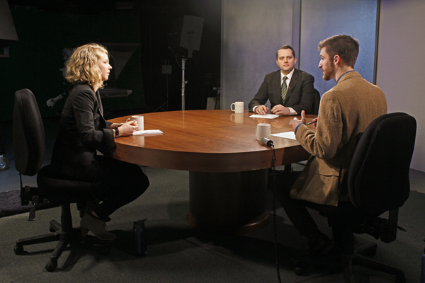 ADN's Devin Kelly, KTUU's Austin Baird join Alaska Public Media's Zachariah Hughes on Alaska Edition to discuss Anchorage's upcoming mayoral election. (Photo by Josh Edge, APRN - Anchorage)