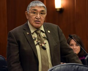 Rep. Benjamin Nageak addresses the Alaska House of Representatives, Feb. 4, 2015. He was speaking as the primary sponsor of HJR 10, a resolution opposing the revised Comprehensive Conservation Plan and Environmental Impact Statement for the Arctic National Wildlife Refuge. (Photo by Skip Gray/360 North)