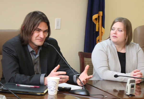 Writer David Holthouse shares his story of being raped as a child during a talk at the Alaska Capitol. Rep. Geran Tarr (D-Anchorage) first introduced Erin's Law last year. (Photo by Lisa Phu/KTOO)