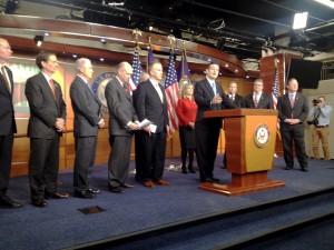 Sen. Ted Cruz addresses press conference, with Sen. Dan Sullivan on deck.