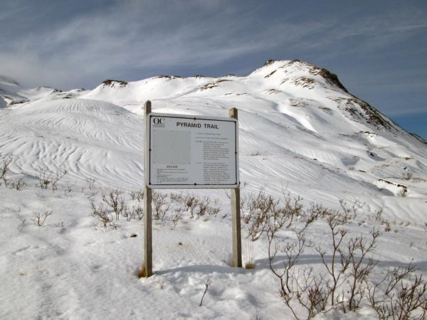 Pyramid Peak in snow last winter, seen from the Unalaska Valley side of the trail. (Lauren Rosenthal/KUCB)
